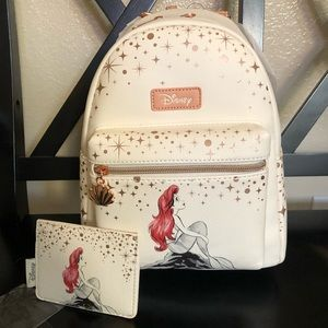 Ariel loungefly mini backpack and card holder